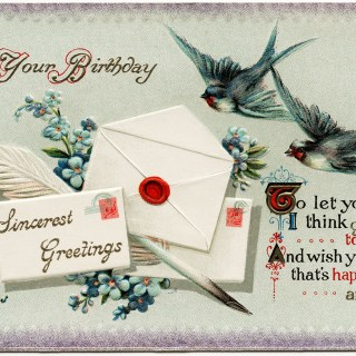 Envelopes, Quill Pen, Flowers and Birds ~ Free Image