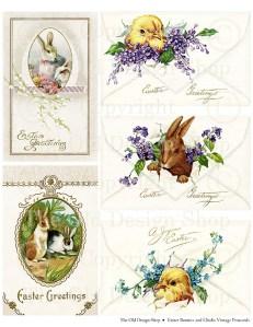 vintage easter postcard, digital collage sheet, christian easter, easter faith clipart, easter bunny, easter chick