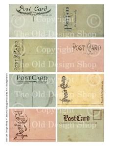altered vintage postcard, digital collage sheet, old postcard backs, ATC printable
