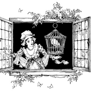 Victorian Lady and Bird in Window Clip Art