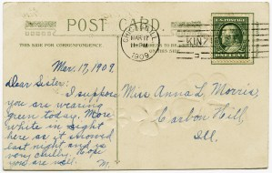 vintage st patricks greeting, antique postcard, st patrick postcard, handwritten message, postcard back