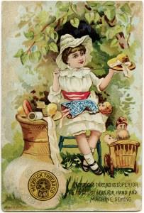 vintage trade card, merrick thread, victorian ad card, girl sewing, vintage sewing, sewing card