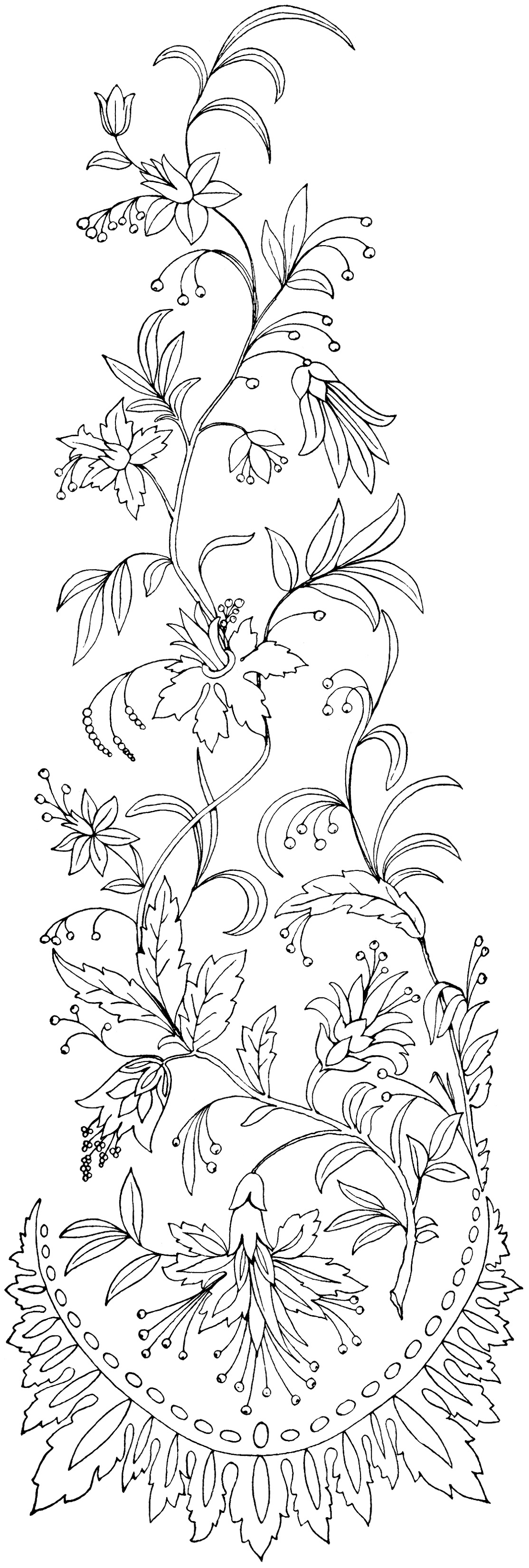 Free vintage image floral embroidery pattern old design