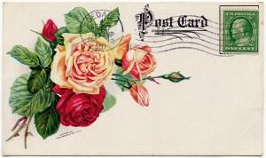 vintage clipart rose, antique postcard, free digital graphics, vintage postcard, old fashioned roses image