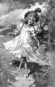vintage child clip art, black and white clipart, girl skipping image, victorian child illustration, antique child engraving