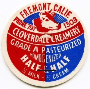 vintage milk bottle cap, cloverdale creamery, old milk lid, cardboard bottle top, vintage ephemera, free vintage image