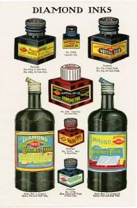 vintage diamond ink image, antique school clip art, old school clipart graphics, printable vintage office supplies, digital download catalog page