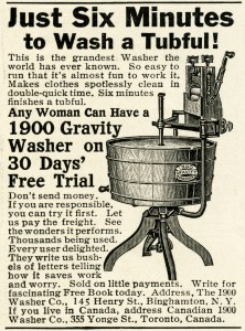vintage washing machine clipart, antique clothes washer advertisement, old magazine digital advertising, black and white clip art, 1900 washing machine image