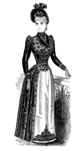 victorian lady clipart, black and white clip art, free vintage fashion image, antique ladies dress illustration, women's clothing 1900