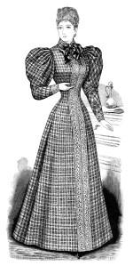 Victorian fashion illustration, Victorian lady black and white clipart, vintage fashion clip art, antique ladies dress image, printable lady long dress