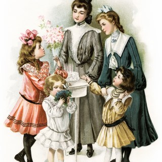 Free Vintage Image ~ Victorian Girls Prepare for a Party