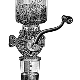 Arcade Crystal Coffee Grinder Ad and Clip Art