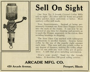 arcade crystal coffee mill, vintage coffee grinder image, black and white coffee clip art, antique magazine advertisement, free vintage coffee graphics