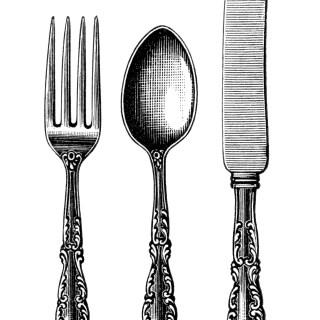 Free Vintage Image ~ Fork Spoon Knife Cutlery