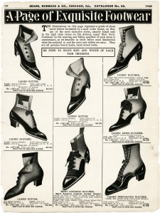 old sears catalogue page, vintage shoe clipart, old fashioned footwear styles, antique ladies shoes image, victorian fashion illustration