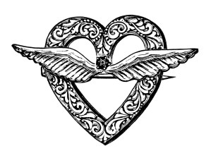 vintage jewellery clipart, antique brooch clip art, old jewelry illustration, steampunk graphics, black and white digital image, heart with wings