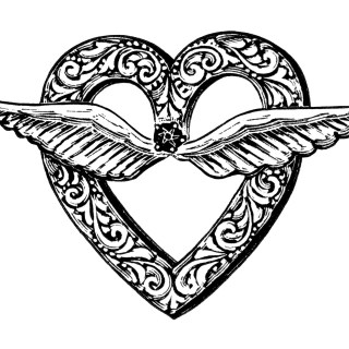 Free Vintage Image ~ Heart Shaped Brooch with Wings