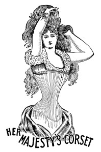 her majesty's corset, black and white clipart, vintage corset clip art, antique catalogue fashion listing, Victorian corset illustration