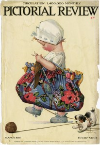charles twelvetrees, child knitting puppy playing, pictorial review cover, vintage magazine page, twelvetrees digital image