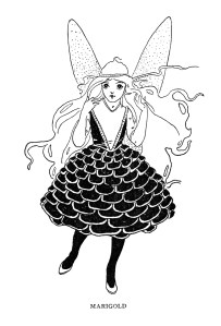 black and white clipart, vintage fairy clip art, girl with wings image, fairytale printable, old storybook illustration