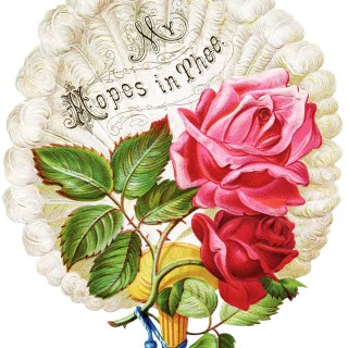 Roses Feathery Fan Victorian Clip Art