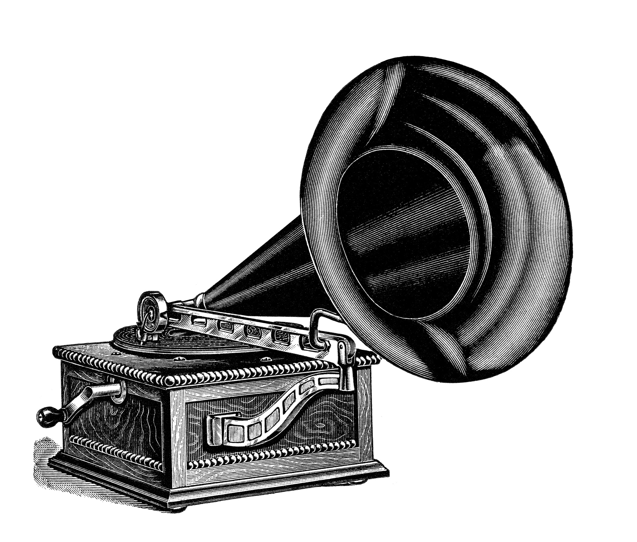 Talking machine free vintage clip art old design shop blog for Vintage house music