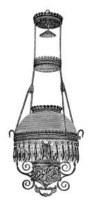 Victorian chandelier image, vintage lamp clip art, black and white clipart, free vintage image, digital lamp graphics, extension hanging lamp illustration