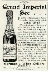 germania wine cellars magazine advertisement, grand imperial sec champagne ad, vintage wine bottle clipart, free black white clip art