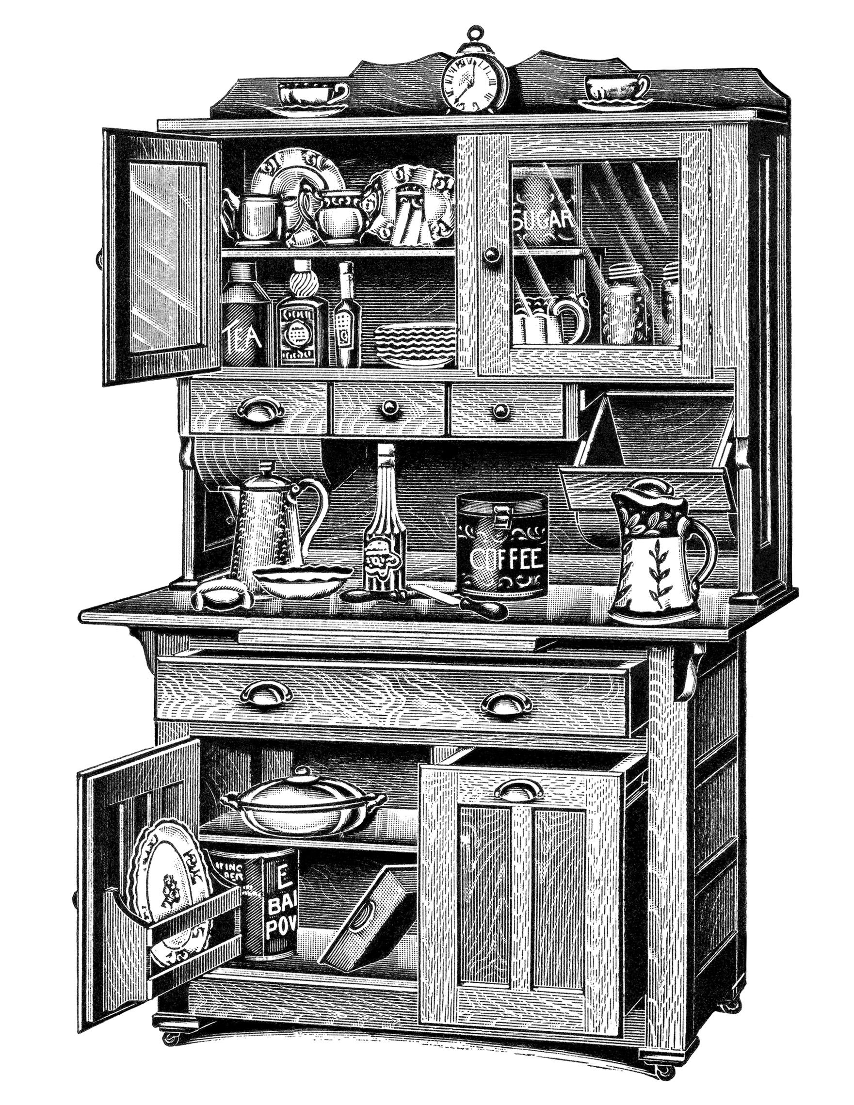 Kitchen cabinets free vintage clip art old design shop for Old fashioned white kitchen cabinets