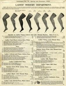 steampunk leg graphic, antique ladies hosiery illustration, Koch catalogue page, Victorian fashion image, vintage leg clip art, black and white clipart