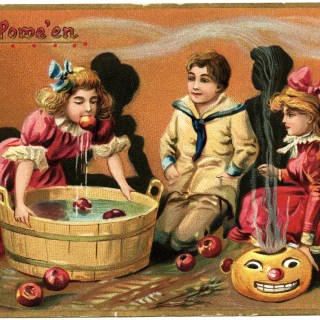 Tuck's Halloween Postcard Vintage Graphic ~ Bobbing for Apples
