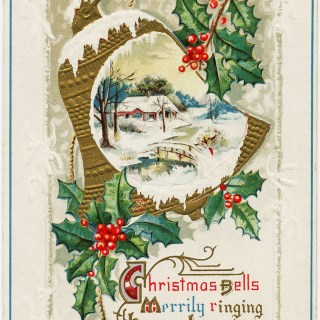 Christmas Bells Vintage Postcard ~ Free Graphic