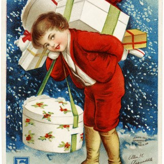 Vintage Clapsaddle Christmas Postcard Image ~ Boy Carrying Packages
