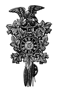 vintage clock clip art, free black and white clipart, antique German clock image, old catalog page