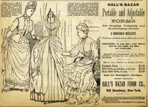 halls bazar dress form, antique magazine ad, vintage sewing clipart, free black and white clip art, victorian ladies illustration