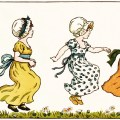 kate greenaway, marigold garden, vintage people clipart, jumping girls poem illustration, Victorian girl clip art
