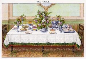 mrs beetons table setting, tea table illustration, vintage printable kitchen, elegant lunch clipart, antique food graphic