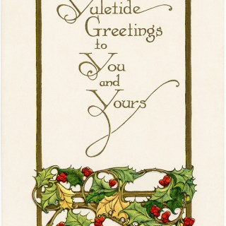 Vintage Yuletide Greetings Christmas Postcard ~ Free Download