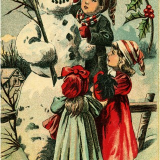 Children and Snowman ~ Free Vintage Graphic