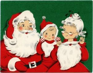 vintage christmas card, retro christmas, santa family clipart, old fashioned holiday image, vintage printable christmas