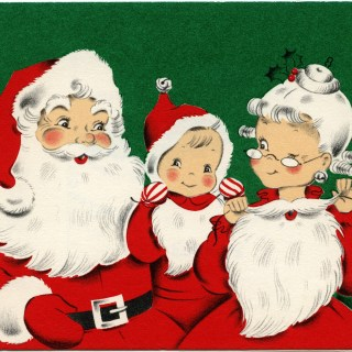 Santa Family Vintage Christmas Greeting Card ~ Free Download