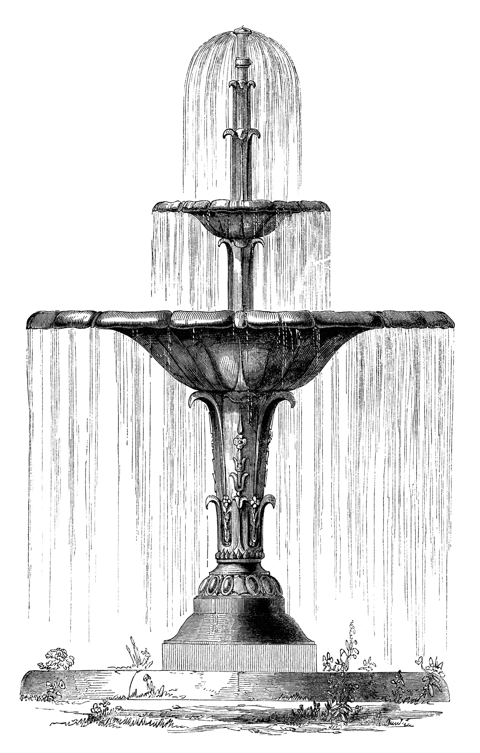victorian garden fountain Victorian Water Fountain ~ Free Clip Art Image | Old