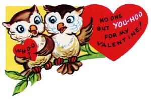 clipart valentine, free retro valentine, public domain valentine, owls clip art, vintage valentine