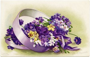 clapsaddle easter postcard, purple flowers in box, vintage easter clipart, signed ellen clapsaddle, printable easter card