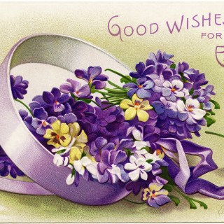 Ellen Clapsaddle Purple Flowers in Hat Box Easter Postcard ~ Free Vintage Image