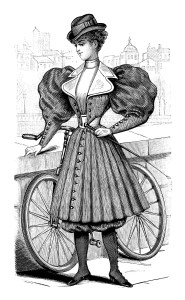 vintage French fashion, Victorian bicycle outfit, antique ladies clothing, black and white clip art, Victorian lady clipart