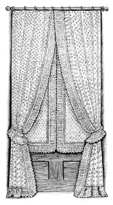 French shirred shade, antique window covering, vintage window clipart, black and white clip art, old fashioned curtain illustration
