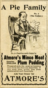 vintage magazine ad, atmore mince meat, old fashioned advertising, man eating pie clipart, vintage food clip art, atmore's pie family father