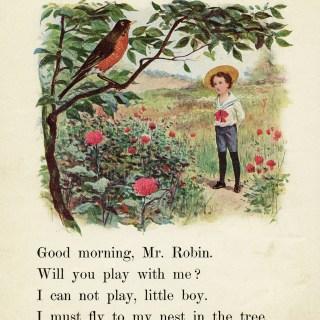 Robin and Boy Vintage School Reader Page ~ Free Digital Image