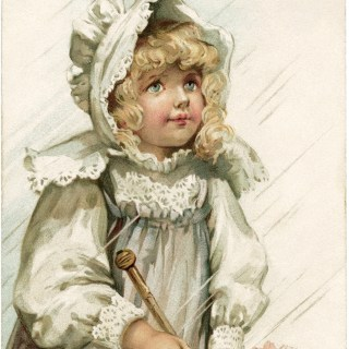 Free Vintage Image ~ Victorian Girl in Rain Postcard